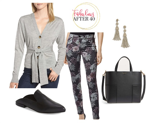 Black and Gray Fall Floral Print Jeans with gray sweater and tassel earrings styled by Fabulous After 40   Deborah Boland