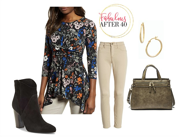 Floral ruched empire wasit top with taupe jeans, distressed bag and black cowboy booties |Outfit styled by Fabulous After 40 | Deborah Boland