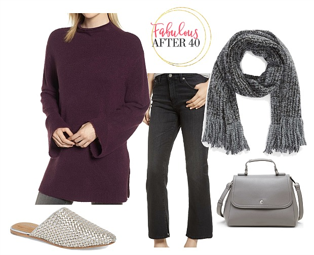 Boucle - Gray Scarf with purple sweater and jeans