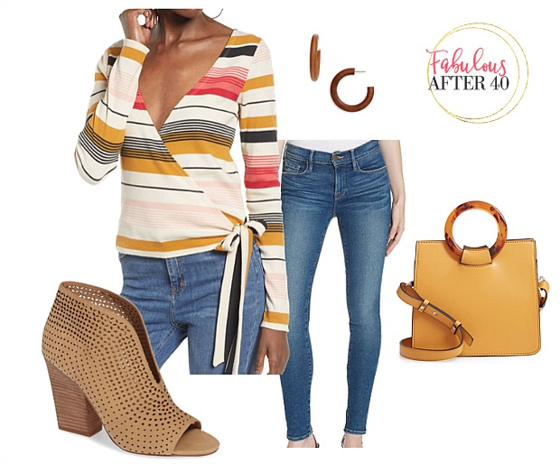 Striped Wrap top, jeans outfit showxasing spring 2019 colors | styled by Fabulous after 40