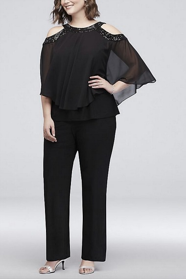 black mother of the bride jumpsuit with sequins