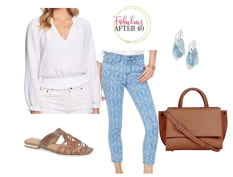 Print Jeans - blue and white