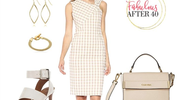Summer Wear to Work- Tan and White Gingham Dress