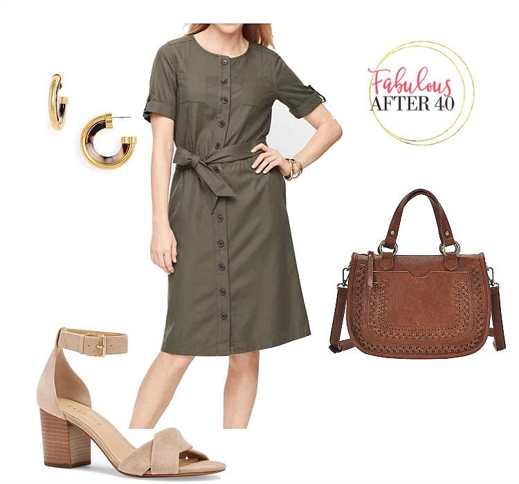 Olive Short Sleeve Shirtdress