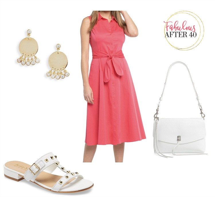 Shirtdresses - Pink Sleeveless, white accessories   styled by Fabulous After 40