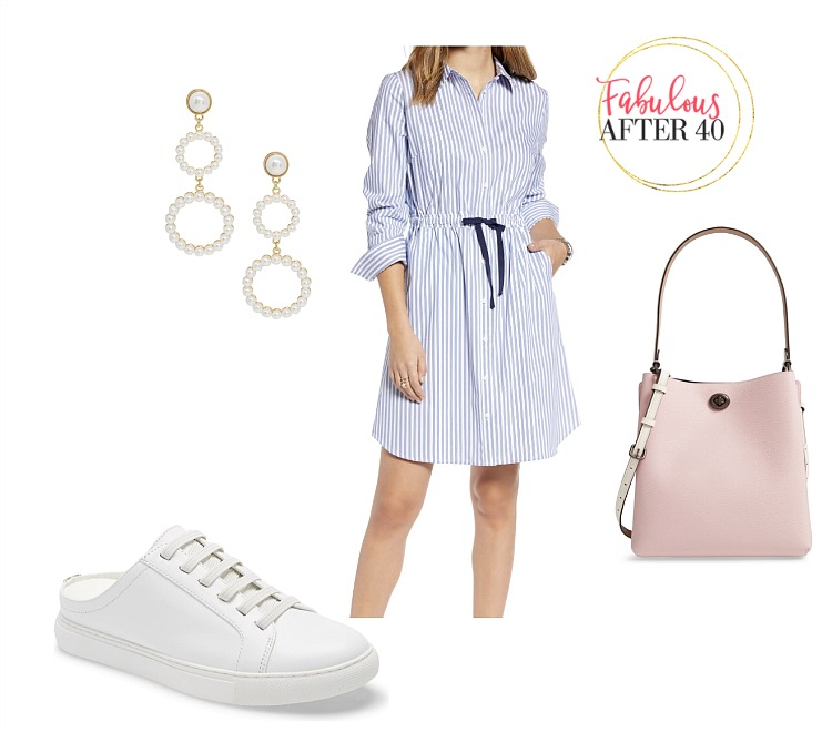 Blue Striped shirtdress, sneakers, pink bag   styled by Fabulous After 40