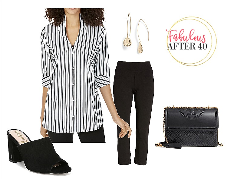 362951145a1 Shirts to Wear With Leggings | Black and White Striped Shirt, black leggings  outfit