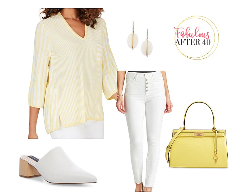 Tops for Flabby Arms - 3:4 Length Yellow and White Striped top
