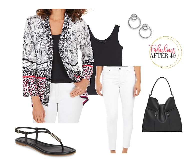 Tops for Flabby Arms - Black and White Cardigan