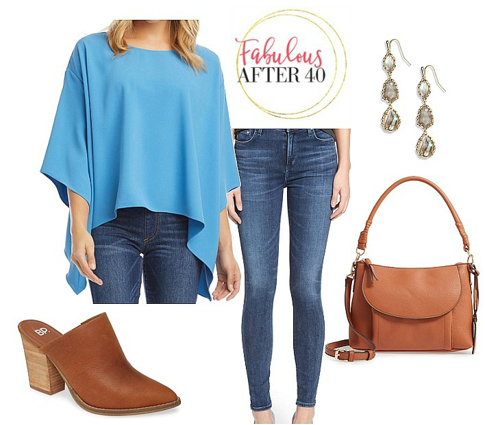 Tops for Flabby arms- Blue scarf poncho top