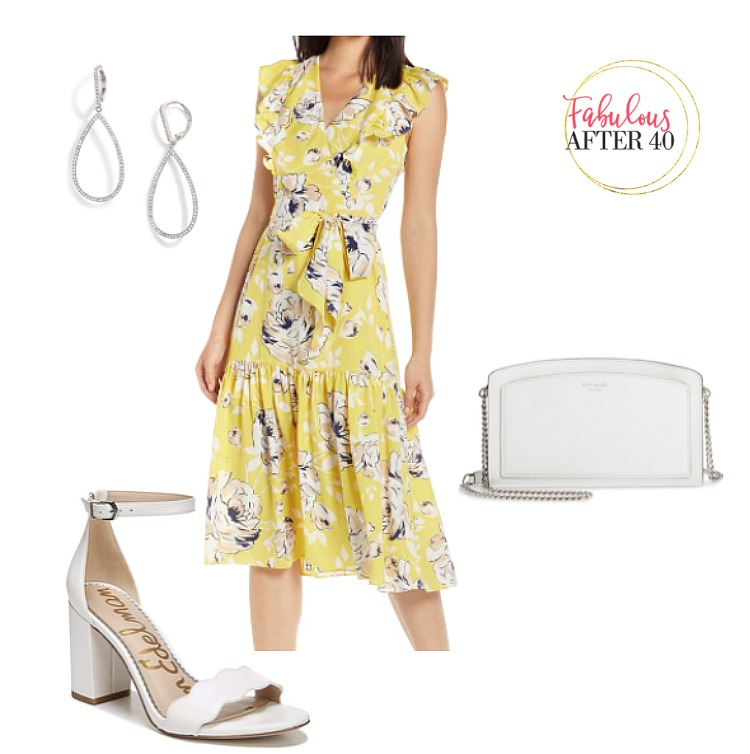Baby Shower Outfit - Yellow Floral Midi