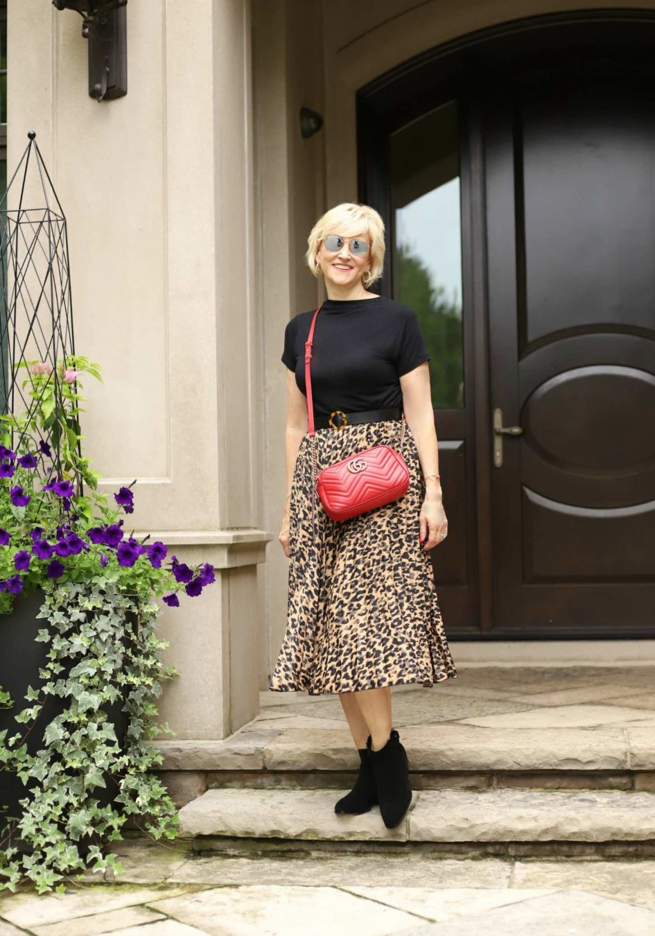 leopard print skirt red gucci bag