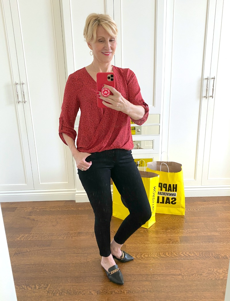 ns sale red blouse black jeans