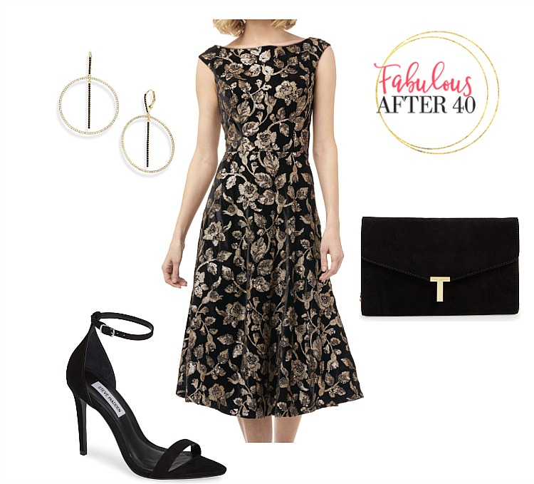 dressy black dress for a wedding - Black and Gold Fit and Flare