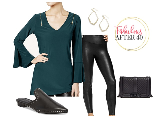 Black leggings outfit| green tunic, black leather legggings | styled by Fabulous After 40
