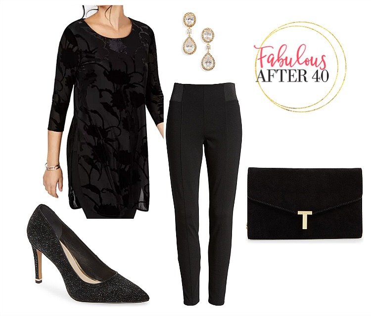 Holiday Party pants - Leggings , black velvet tunic, black sparkly pups, black clutch | styled by Fabulous After 40