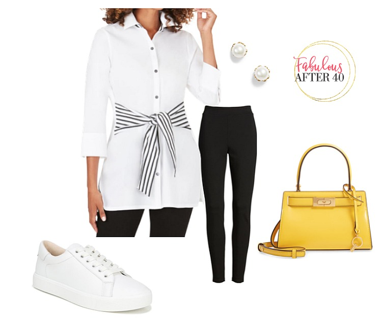 Leggings - White shirt with with Striped Tie