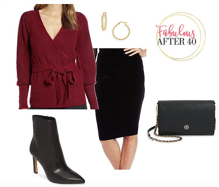 Wrap Sweater Top   Burgundy wrap sweater with Velvet Skirt, black booties l styled by Fabulous After 40