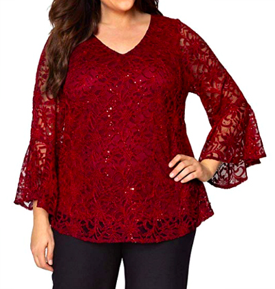 plus size holiday tops l red lace bell sleeves