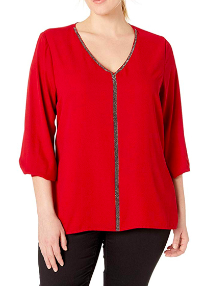 plus size holiday tops l red v-neck top with sparkle