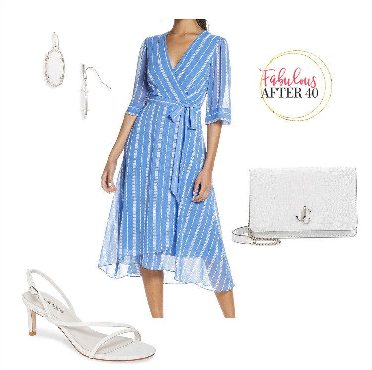 Special Occasion Dress- Blue and White