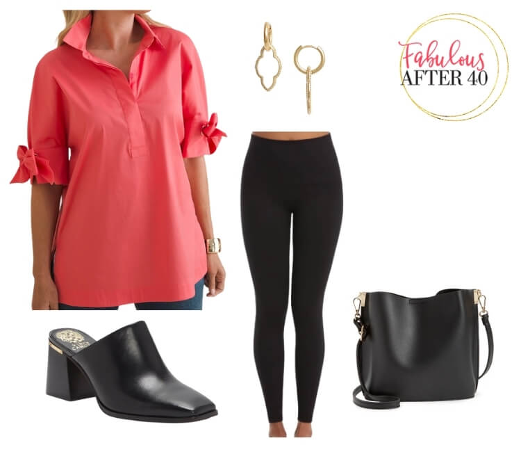 Long Tops with Leggings - Pink Bow Sleeve