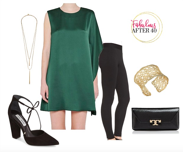 holiday party look -One-Shoulder-Green-Satin