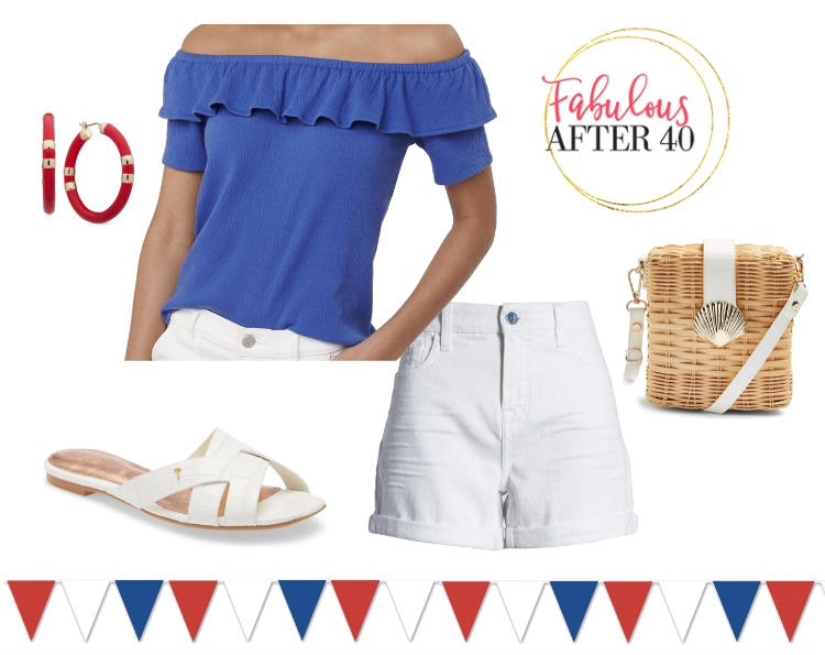 Fourth of July outfit ideas- Blue off the Shoulder N