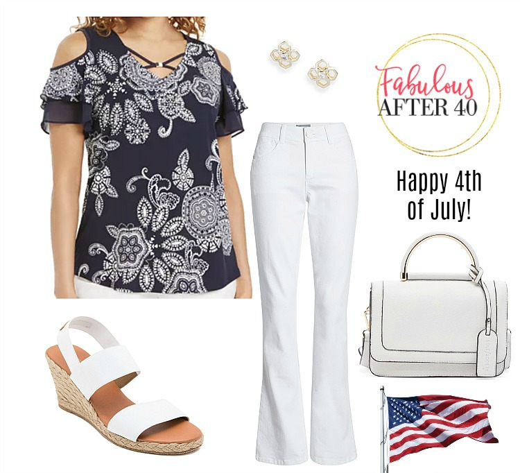 4th of July Outfit Idea - Navy Cold Shoulder