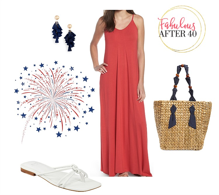 4th of July Outfit Ideas - red Maxi