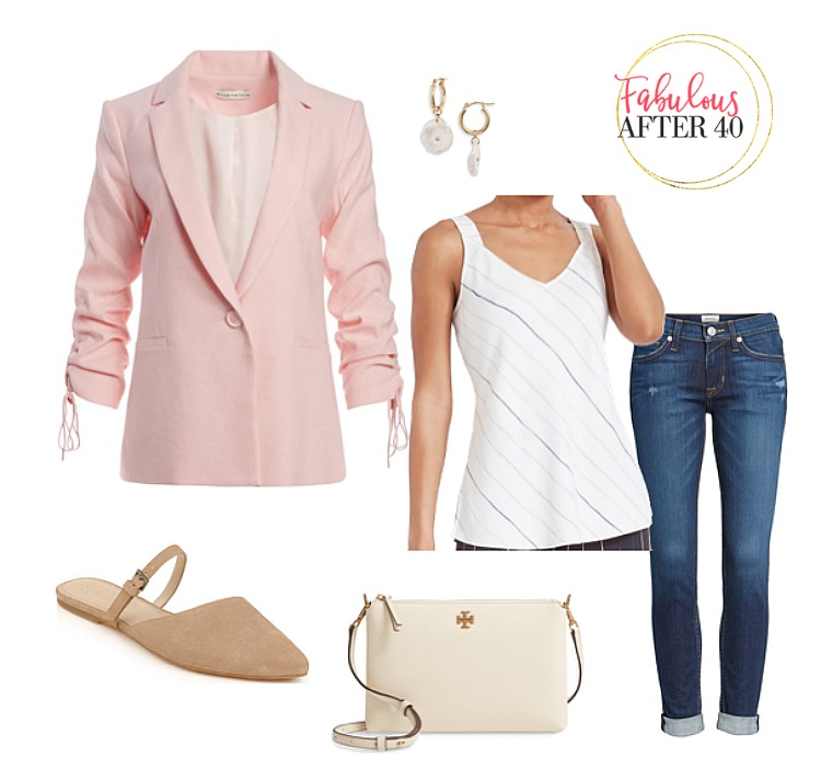 womens linen jacket -pink with jeans