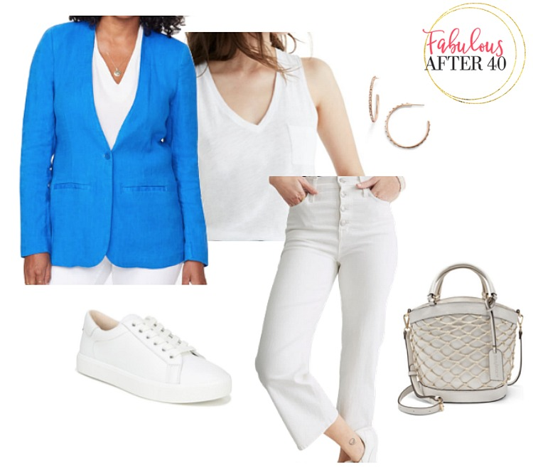 women's linen jacket - blue with white cropped jeans