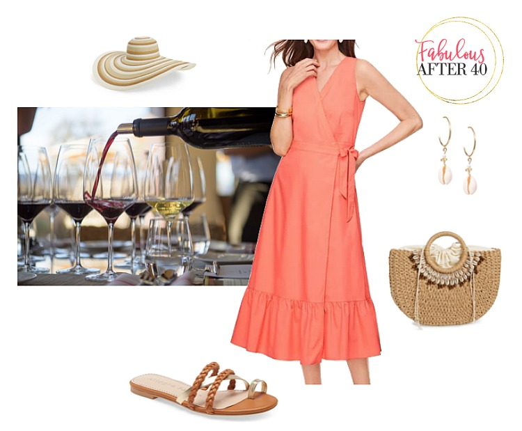 Winery Outfit - Coral Dress