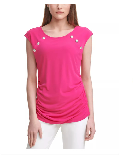 bubblegum pink top with buttons