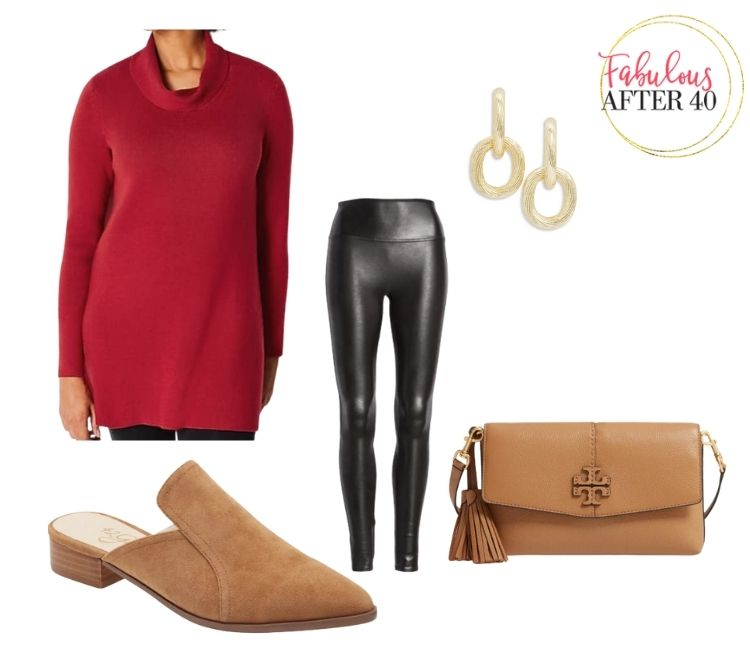 Long Tops with Leggings - Red Sweater